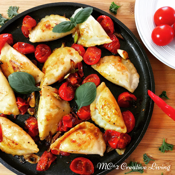 Perogies with Cherry Tomatoes and Balsamic Vinegar, mc2creativeliving.com